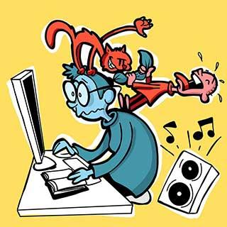 карикатура парня рядом с компьютером