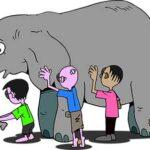 слепые люди, ощупывающие слона